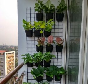 Vertical wallmount planting pots and grill
