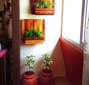Wooden Plant Holder and Pots